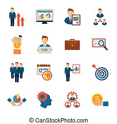 plat, gestion, icône