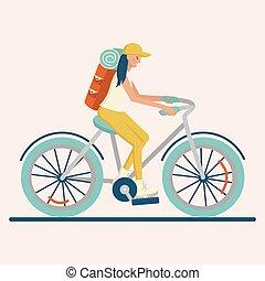 plat, girl, équitation bicyclette, caractère