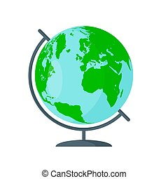 plat, globe, illustration, arrière-plan., vecteur, blanc, icône