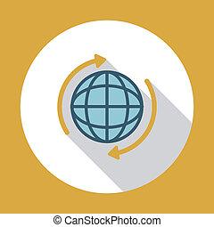 plat, globe, ombre, long, icône