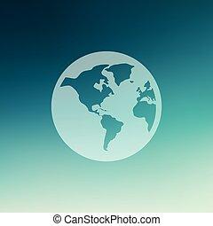 plat, globe, stijl, pictogram