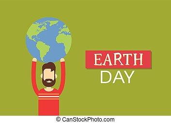 plat, globe, wereld, aarde, houden, dag, man