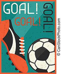 plat, goal!, affiche, conception, retro, style.