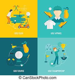 plat, golf, iconen