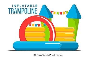 plat, gonflable, trampoline, isolé, illustration, park., tower., vector., château, toy., dessin animé, cour de récréation