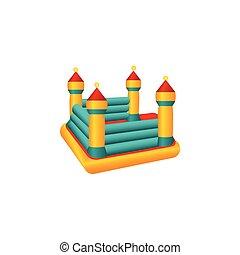plat, gonflable, trampoline, rebondissant, vecteur, château