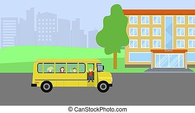 plat, gosses école, autobus, style, fond