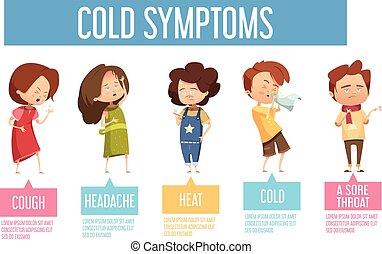 plat, gosses, affiche, symptômes, infographic, froid