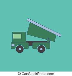 plat, gosses, camion jouet, fond, icône