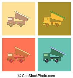 plat, gosses, montage, icônes, camion jouet