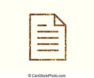 plat, goud, werken, vector, bestand, interface, lijn, document, schitteren, pictogram