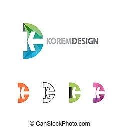 plat, gradient, dynamique, logo, ligne, style.