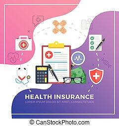 plat, grafisch, elements., moderne, illustratie, vector, ontwerp, insurance., gezondheid