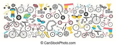 plat, grafisch, fiets, illustratie, vector, ontwerp, types., fiets, spandoek, design.