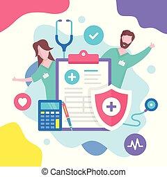 plat, grafisch, illustration., medisch, moderne, vector, gezondheid, insurance., ontwerp, concept., verzekering, communie