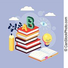 plat, grafisch, kleurrijke, concept., velen, books., vrijstaand, bibliotheek, wijsheid, vector, stapel, illustratie, ontwerp, opleiding, spotprent