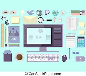plat, grafisch ontwerp, werkplaats, design.