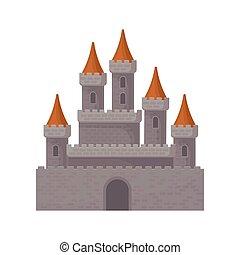 plat, grand, moyen-âge, tours, royal, roofs., élevé, fantasme, jeu, vecteur, mobile, forteresse, élément, conique, castle., rouges