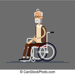 plat, grand-père, personnes agées, illustration, person., vecteur, wheelchair., style