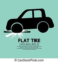 plat, graphic., noir, pneu, voiture