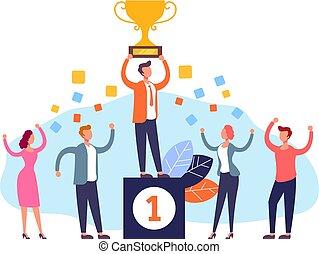 plat, graphique, business, concept., gagnant, illustration, vecteur, collaboration, conception, dessin animé