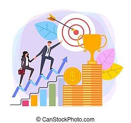 plat, graphique, cibler, business, réussi, concept., illustration, vecteur, conception, direction, dessin animé