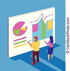 plat, graphique, financier, report., professionnels, concept., isolé, illustration, écriture, projet, entrepreneur, vecteur, conception, stratégie, dessin animé