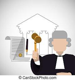 plat, graphique, illustration, justice, vecteur, icon., droit & loi, design.