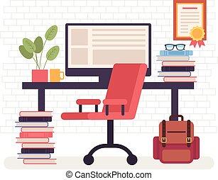 plat, graphique, indépendant, travail, illustration, workplace., travailleur indépendant, vecteur, conception, maison, concept., dessin animé, vide