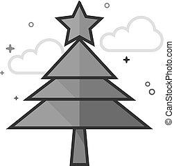 plat, grayscale, -, arbre, noël, icône