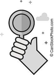 plat, grayscale, -, main, bidder, icône