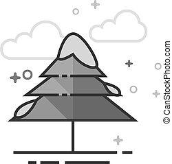 plat, grayscale, -, neige, arbre, pin, icône