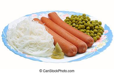 plat, gree, saucisse, nouilles
