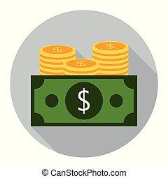 plat, gris, dollar, fond, monnaie, icône