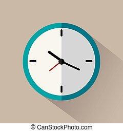 plat, gris, horloge, long, fond, ombre, icône