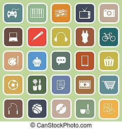 plat, groene, hobby, achtergrond, iconen