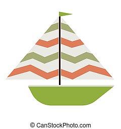 plat, groene, scheepje, illustratie