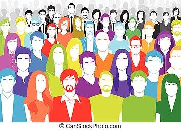 plat, groep, kleurrijke, mensenmassa, groot, gezicht,...
