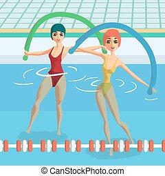 plat, groep, pool., verloofd, illustratie, water, noodles., vector, turnoefening, aerobics, fitness, classes., spotprent, vrouwen