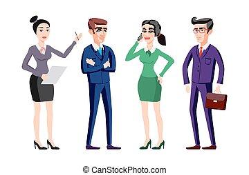 plat, groep, zakenlui, illustratie, vector, menselijke hulpbronnen