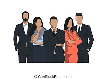 plat, groep, zakenlui, mannen, vrijstaand, vector, ontwerp, iilustration, vrouwen
