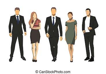 plat, groep, zakenlui, mannen, vrijstaand, vector, ontwerp, iilustration, vrouwen, geometrisch