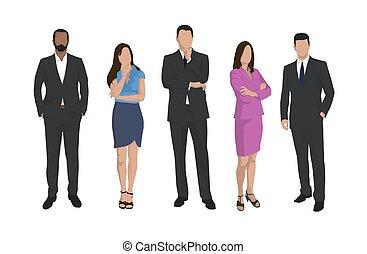 plat, groep, zakenlui, mannen, vrijstaand, vector, ontwerp, vrouwen, iilustrations