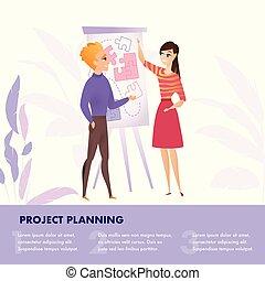 plat, groupe, gens fonctionnement, illustration, projet