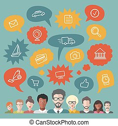 plat, groupe, gens, média, icônes, illustration, vecteur, parole, social, branché, bulles, style.