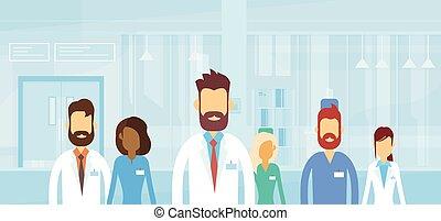 plat, groupe, médecins hôpital, médian, équipe