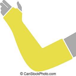 plat, gypse, bandage, icône, main