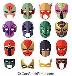 plat, héros, icônes, masque, vecteur, caractères
