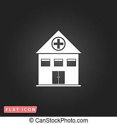 plat, hôpital, icône