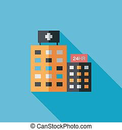 plat, hôpital, ombre, long, icône
